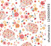 vector seamless childish floral ... | Shutterstock .eps vector #1240004593