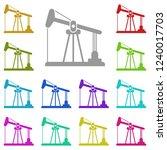 oil pump icon in multi color....