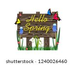 hello spring wooden sign | Shutterstock .eps vector #1240026460