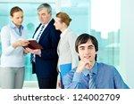 portrait of confident leader... | Shutterstock . vector #124002709