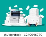 businessman in pile of papers.... | Shutterstock . vector #1240046770