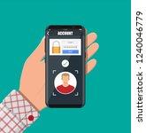 hands with smartphone unlocked... | Shutterstock . vector #1240046779