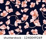 red poppy flowers on navy dark... | Shutterstock . vector #1240049269