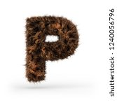 uppercase fluffy and furry font ... | Shutterstock . vector #1240056796