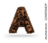 uppercase fluffy and furry font ... | Shutterstock . vector #1240056829