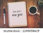 top view of notebook and text... | Shutterstock . vector #1240058629