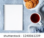 mock up with blank notepad... | Shutterstock . vector #1240061239