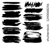 set of brush stroke   black ink ... | Shutterstock .eps vector #1240068256