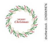 christmas wreath. floral wreath | Shutterstock .eps vector #1240069876