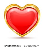 red heart in golden frame on a... | Shutterstock .eps vector #124007074