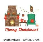 christmas interior with festive ... | Shutterstock .eps vector #1240072726