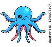pixel art cute octopus detailed ... | Shutterstock .eps vector #1240078609