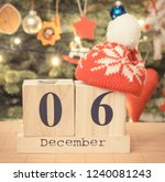 date 6 december with woolen red ... | Shutterstock . vector #1240081243