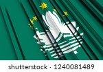abstract flag of macau. 3d... | Shutterstock . vector #1240081489