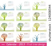 calendar 2013 fruit tree... | Shutterstock . vector #124008544
