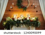 christmas decoration on wooden... | Shutterstock . vector #1240090099