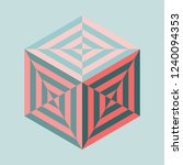isometric striped cube | Shutterstock .eps vector #1240094353