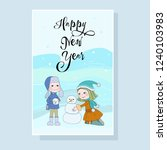 joyful holiday on card  boy and ... | Shutterstock .eps vector #1240103983