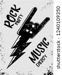 rock music poster with hand and ... | Shutterstock .eps vector #1240109350