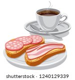illustration of breakfast with... | Shutterstock .eps vector #1240129339