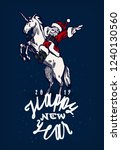 santa claus riding unicorn and... | Shutterstock .eps vector #1240130560