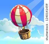 vector aerostat. red with white ... | Shutterstock .eps vector #1240141459