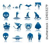 mysterious and horror icon set | Shutterstock .eps vector #124015279