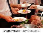 roasted meat and baked potatoes ... | Shutterstock . vector #1240183813