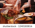 roasted meat and baked potatoes ... | Shutterstock . vector #1240183816