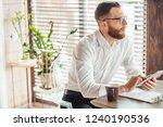 male caucasian handsome... | Shutterstock . vector #1240190536