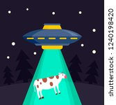 ufo ship takes cow concept... | Shutterstock .eps vector #1240198420