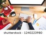 businesswoman working in... | Shutterstock . vector #1240223980