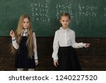 solve problem. two schoolgirls... | Shutterstock . vector #1240227520