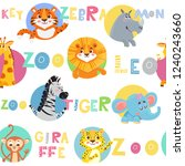 seamless pattern with cute wild ... | Shutterstock .eps vector #1240243660