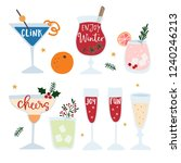 set of hand drawn alcoholic... | Shutterstock .eps vector #1240246213