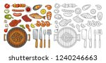 barbecue grill set with fork ... | Shutterstock .eps vector #1240246663