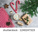 cup with hot chocolate and... | Shutterstock . vector #1240247323