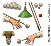 set russian pyramid. cue sticks ... | Shutterstock .eps vector #1240266373