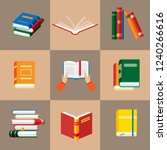 set of book icons in flat style ... | Shutterstock .eps vector #1240266616