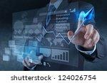 businessman hand touch 3d... | Shutterstock . vector #124026754