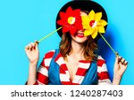 portrait of young smiling red... | Shutterstock . vector #1240287403