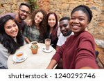 smiling group of diverse young... | Shutterstock . vector #1240292746