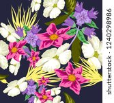 tropical flower seamless vector ... | Shutterstock .eps vector #1240298986