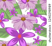 tropical flower seamless vector ... | Shutterstock .eps vector #1240298989
