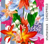 tropical flower seamless vector ... | Shutterstock .eps vector #1240299013