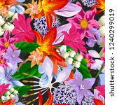 tropical flower seamless vector ... | Shutterstock .eps vector #1240299019