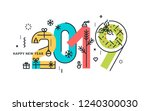happy new year 2019. vector... | Shutterstock .eps vector #1240300030