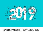 happy new year 2019. vector... | Shutterstock .eps vector #1240302139