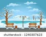 Winter Day Park Scene. Two...