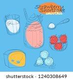 strawberry shortcake smoothie...   Shutterstock .eps vector #1240308649